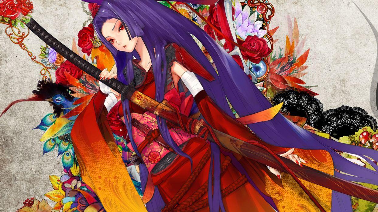 Samurai girl painting katana kimono yukata wallpaper 1920x1080 1244x700