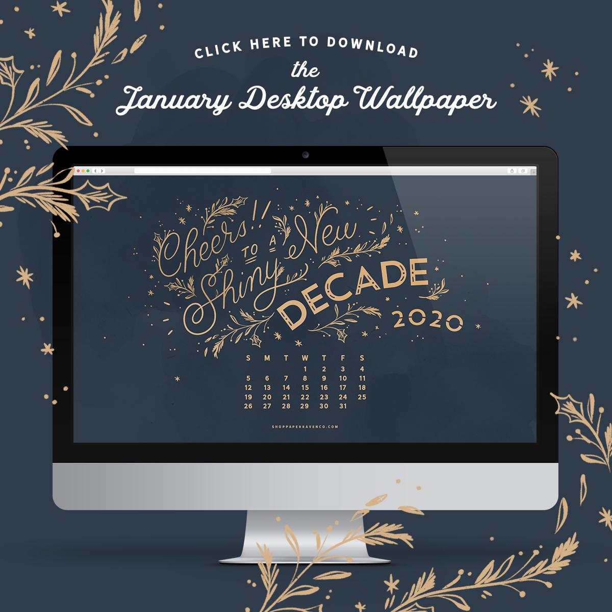 January 2020 Desktop Wallpaper Paper Raven Co 1200x1200