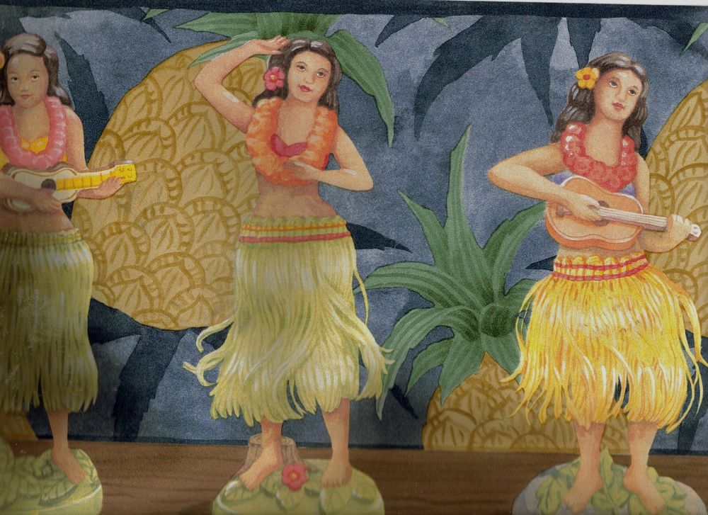 Hawaiian Hula Dancing Dolls on Shelf Wallpaper Border PC103B eBay 1000x727