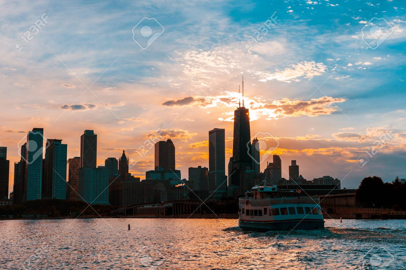 Chicago Skyline Viewed From The Pier On Lake Michigan With Sunset 1300x866