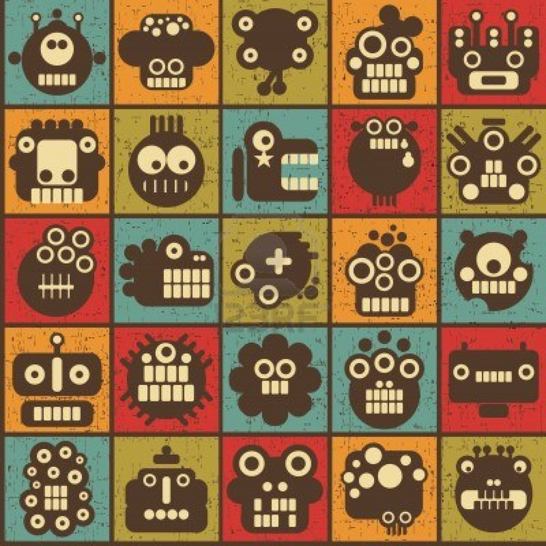 Retro Robot Wallpaper Backgrounds 1440x1440