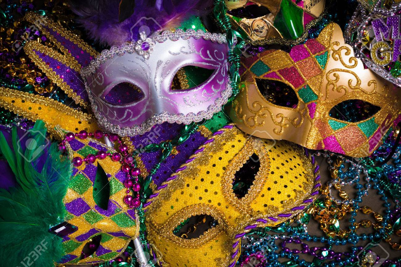 A Group Of Venetian Mardi Gras Mask Or Disguise On A Dark 1300x867