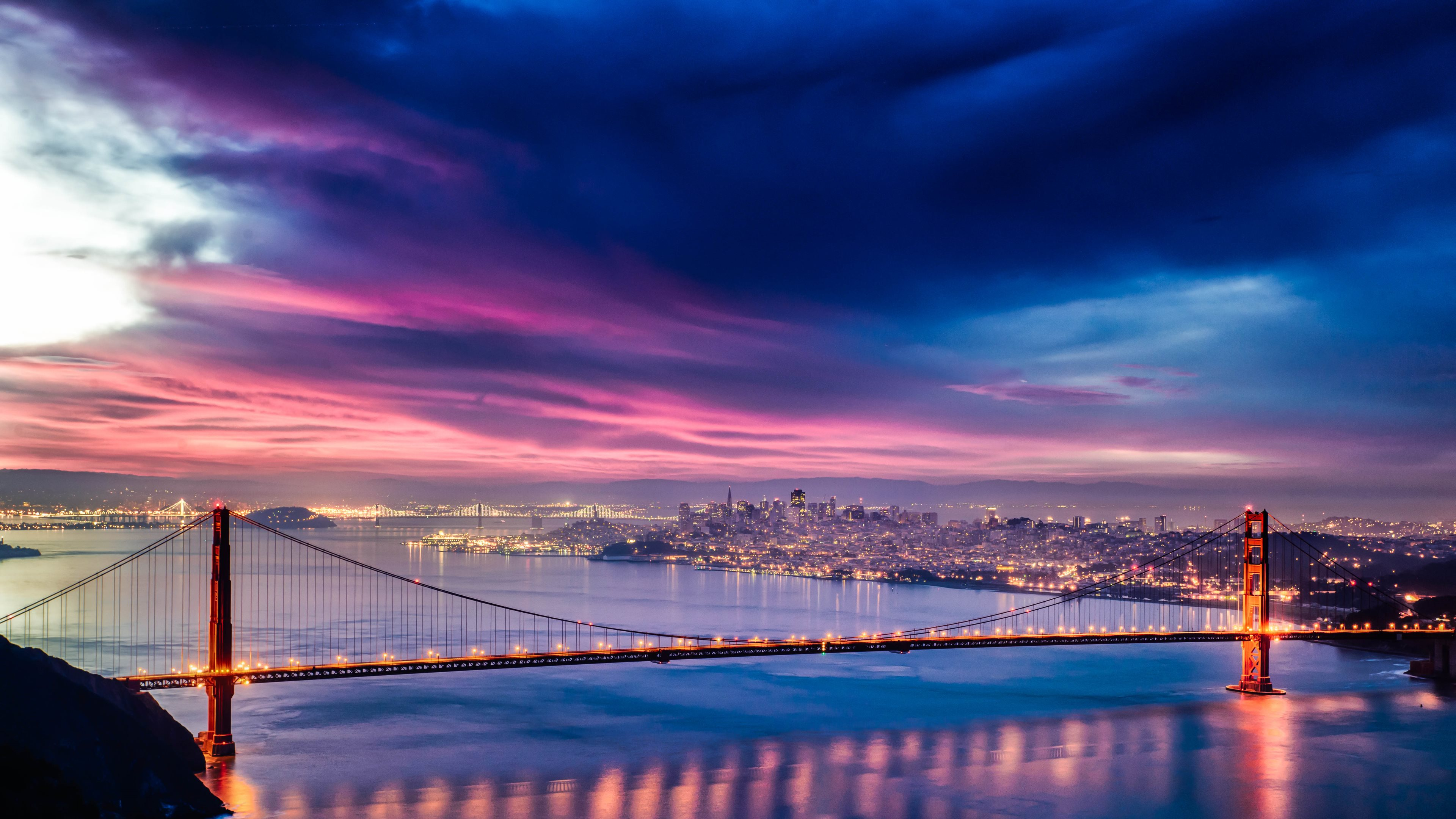 Skyfire over San Francisco Bay Bridge Wallpapers HD Wallpapers 3840x2160