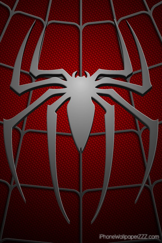 Spiderman Logo in Chest Red Costum HD Wallpaper For iPhone 4 and 4s 641x960