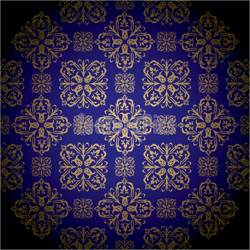 Blue and gold royal wallpaper with seamless repeat pattern 500x500