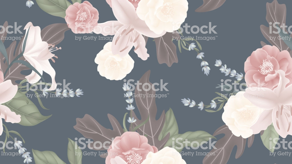 Floral Seamless Pattern Rose Lily Lavender With Leaves On Matted 1024x576