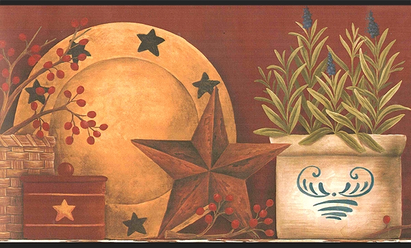 Country Barn Star Shelf Wallpaper Border CT1855BD primitive border 600x363