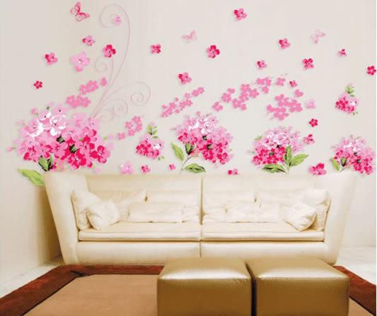 3d sticker graffiti removers Pink flowers butterfly wallpaper walljpg 533x447