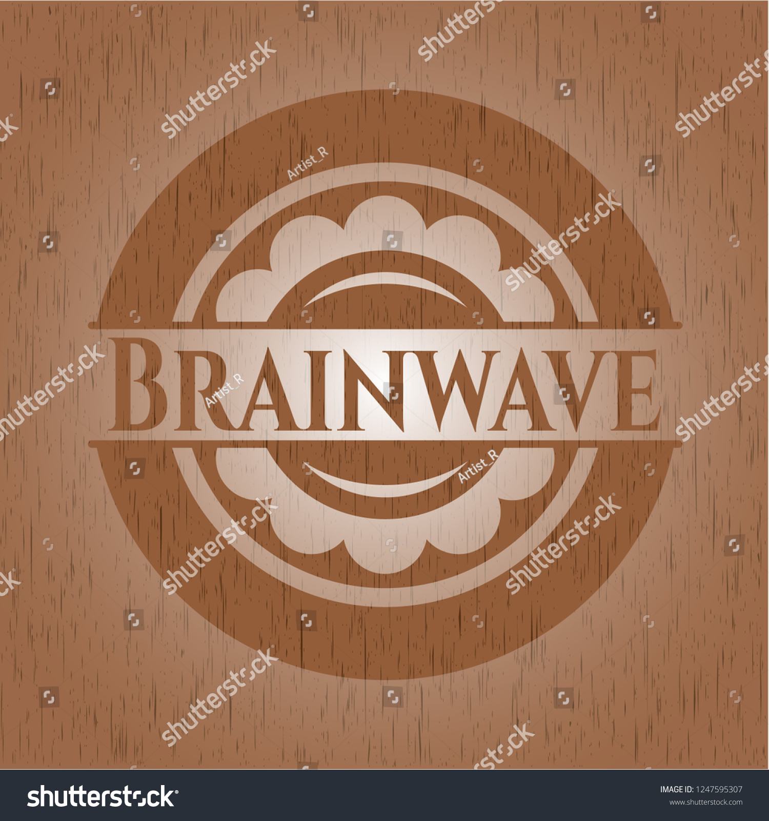 Brainwave Badge Wood Background Stock Vector Royalty 1500x1600