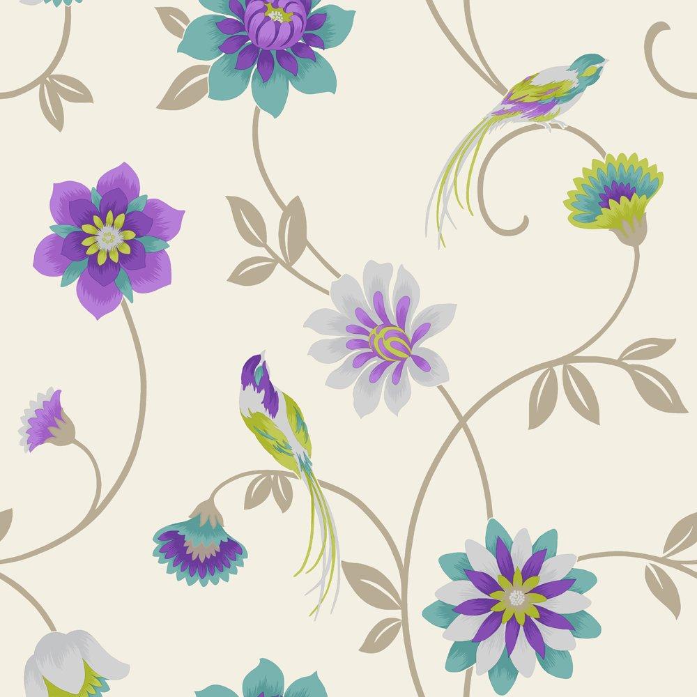 Fine Decor Eden Bird Designer Feature Wallpaper Cream Purple Teal 1000x1000