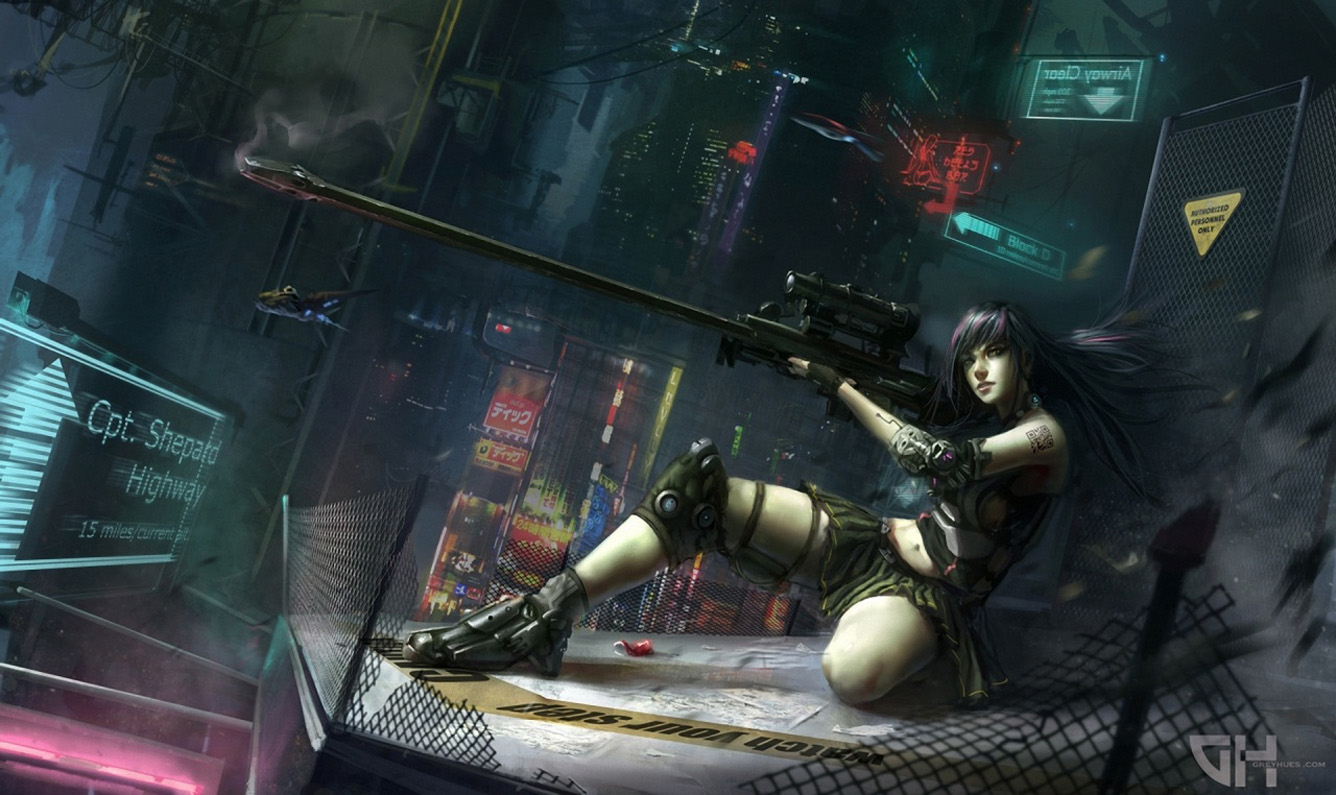 Sniper Riffle Girl Female Anime HD Wallpaper Desktop PC Background 1336x795