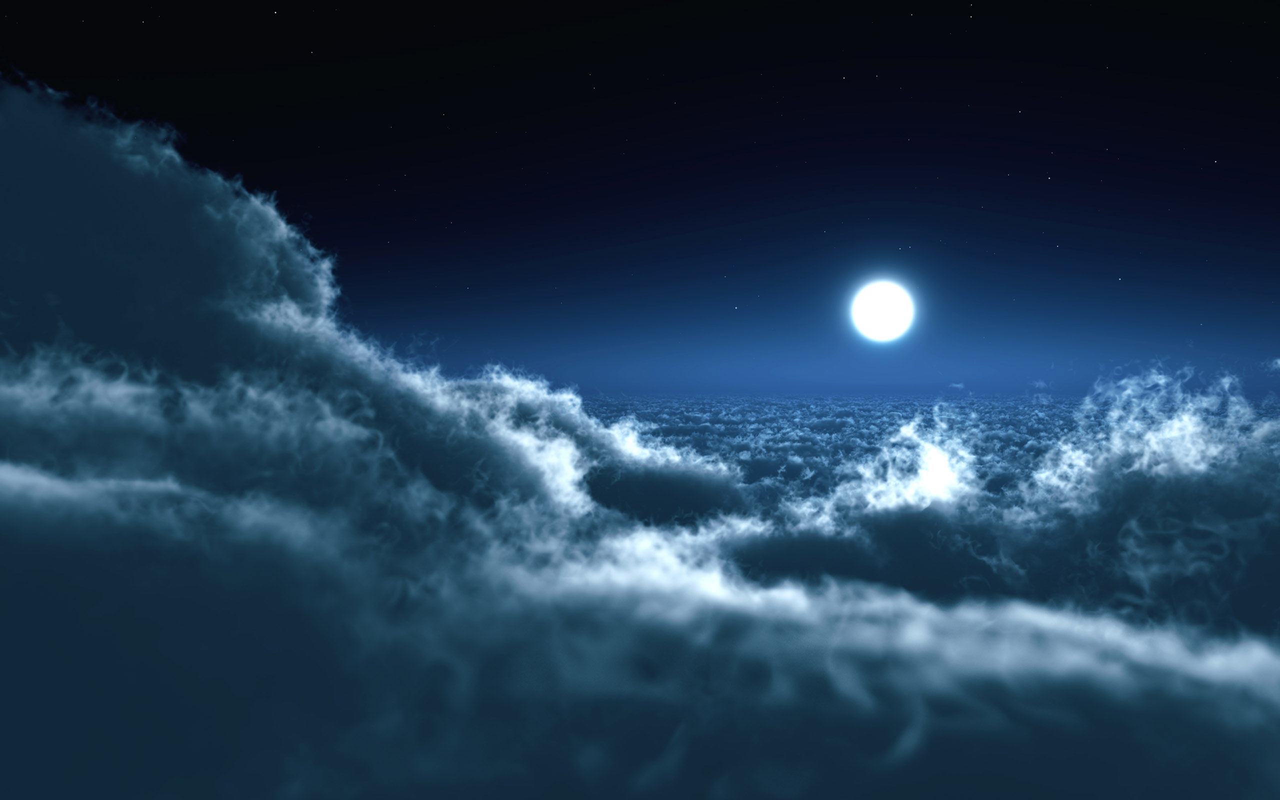 Full Moon Above The Clouds Wallpapers Download Wallpapers 2560x1600