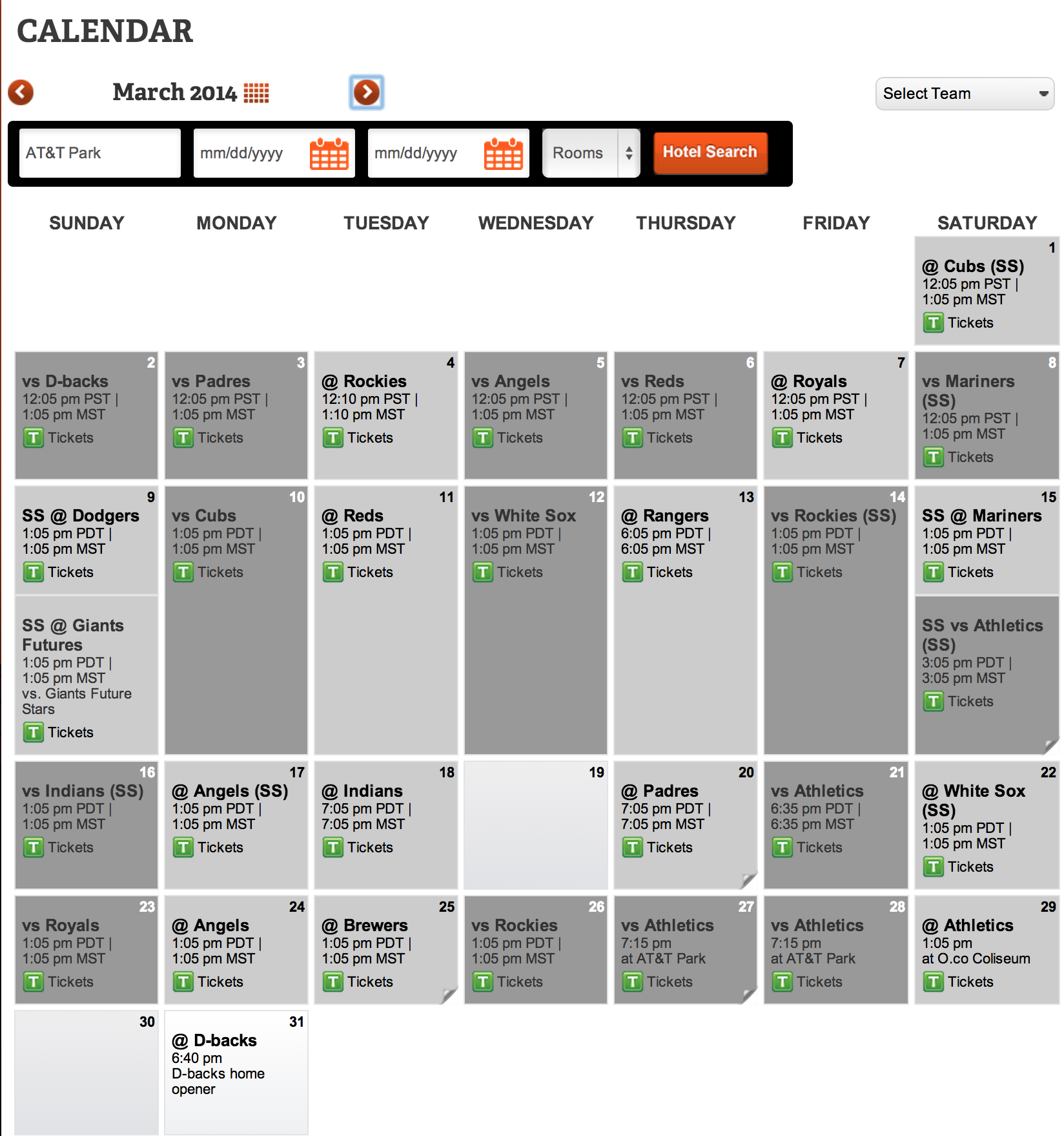 San Francisco Giants Spring Training Full Schedule 1648x1758
