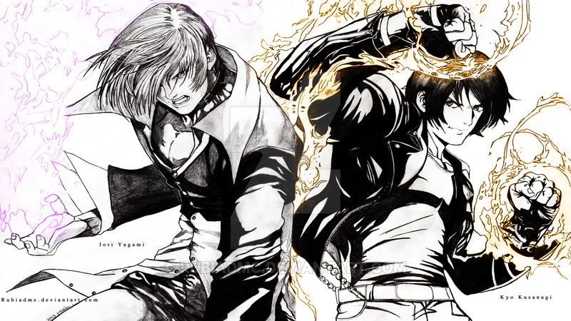 Iori Yagami and Kyo Kusanagi by RubiaDmc 800x450