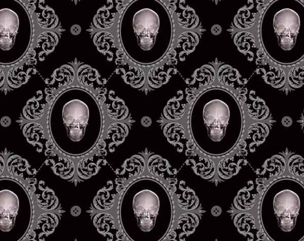gothic baroque furniture and wallpaper goth skulls interior design 600x475