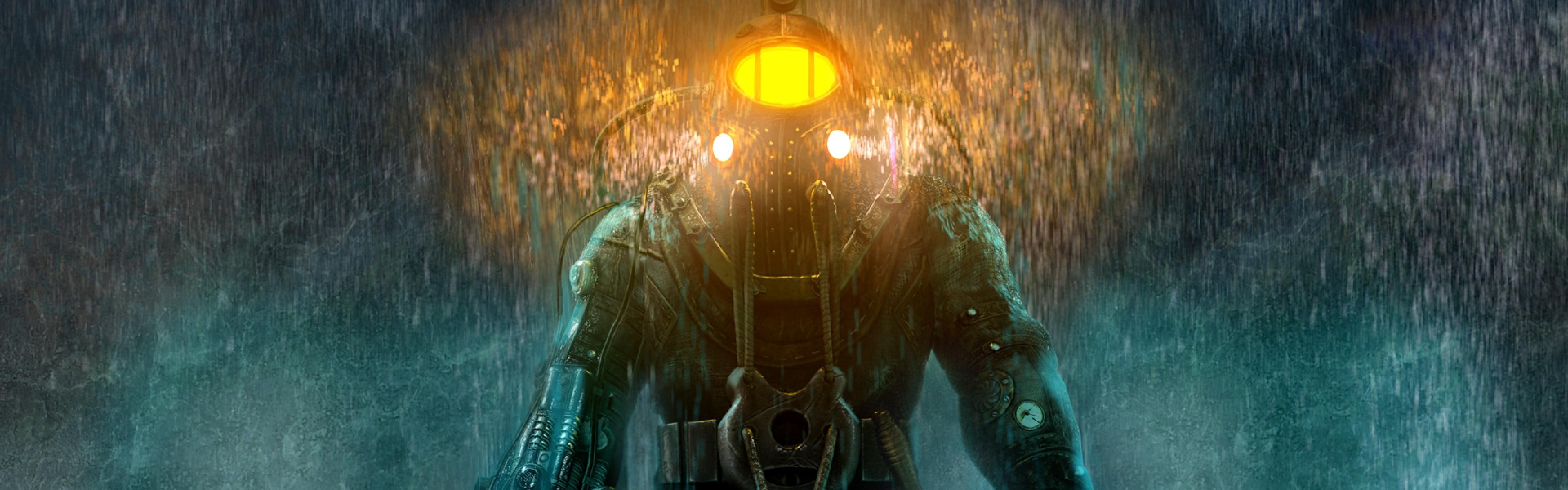 Free Download Download 3840x1200 Bioshock 2 Big Daddy Rain