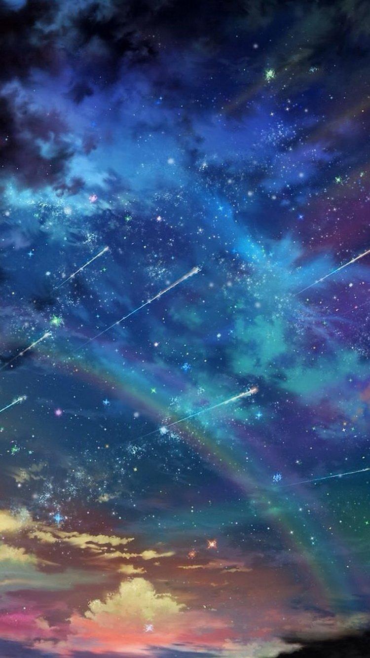 Sunset Rainbow Shooting Stars iPhone 6 Wallpaper iPod 750x1334