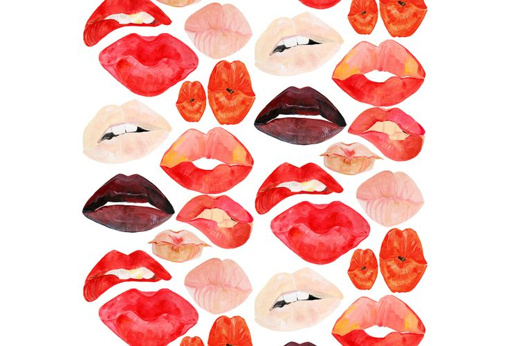 Wallpaper from One Kings Lane   An Artists Approach   Lips on White 736x501