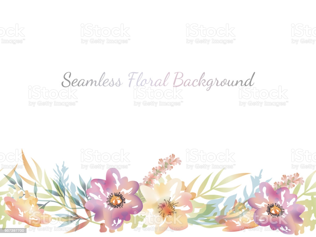 Watercolor Seamless Floral Background With Text Space Stock 1024x768