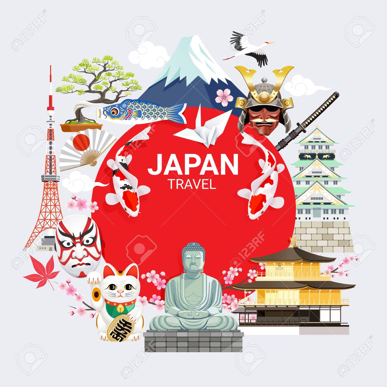 Japan Famous Landmarks Travel Background With Tokyo Tower Fuji 1300x1300