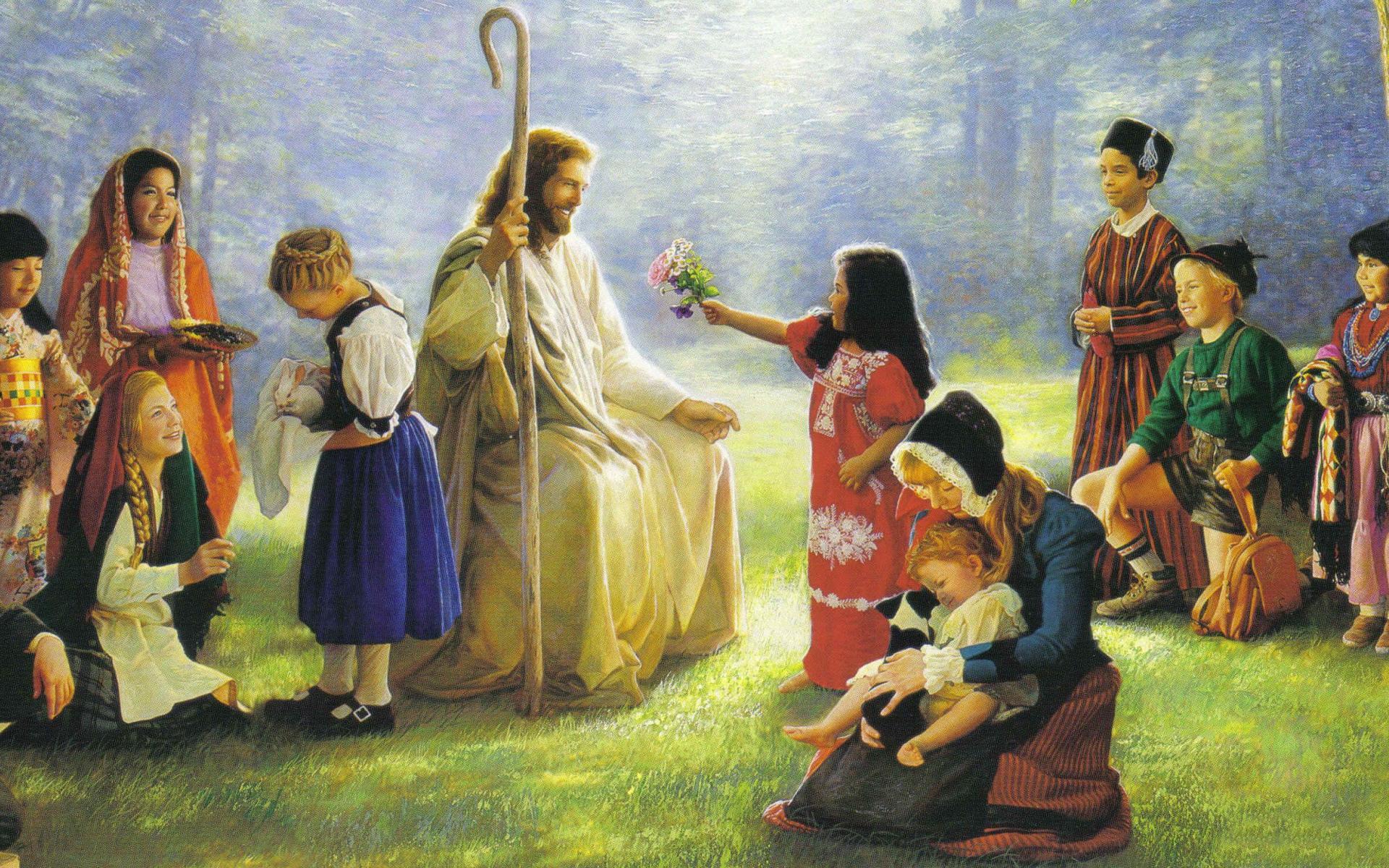 wallpaper of jesus christ and children computer desktop wallpaper 1920x1200