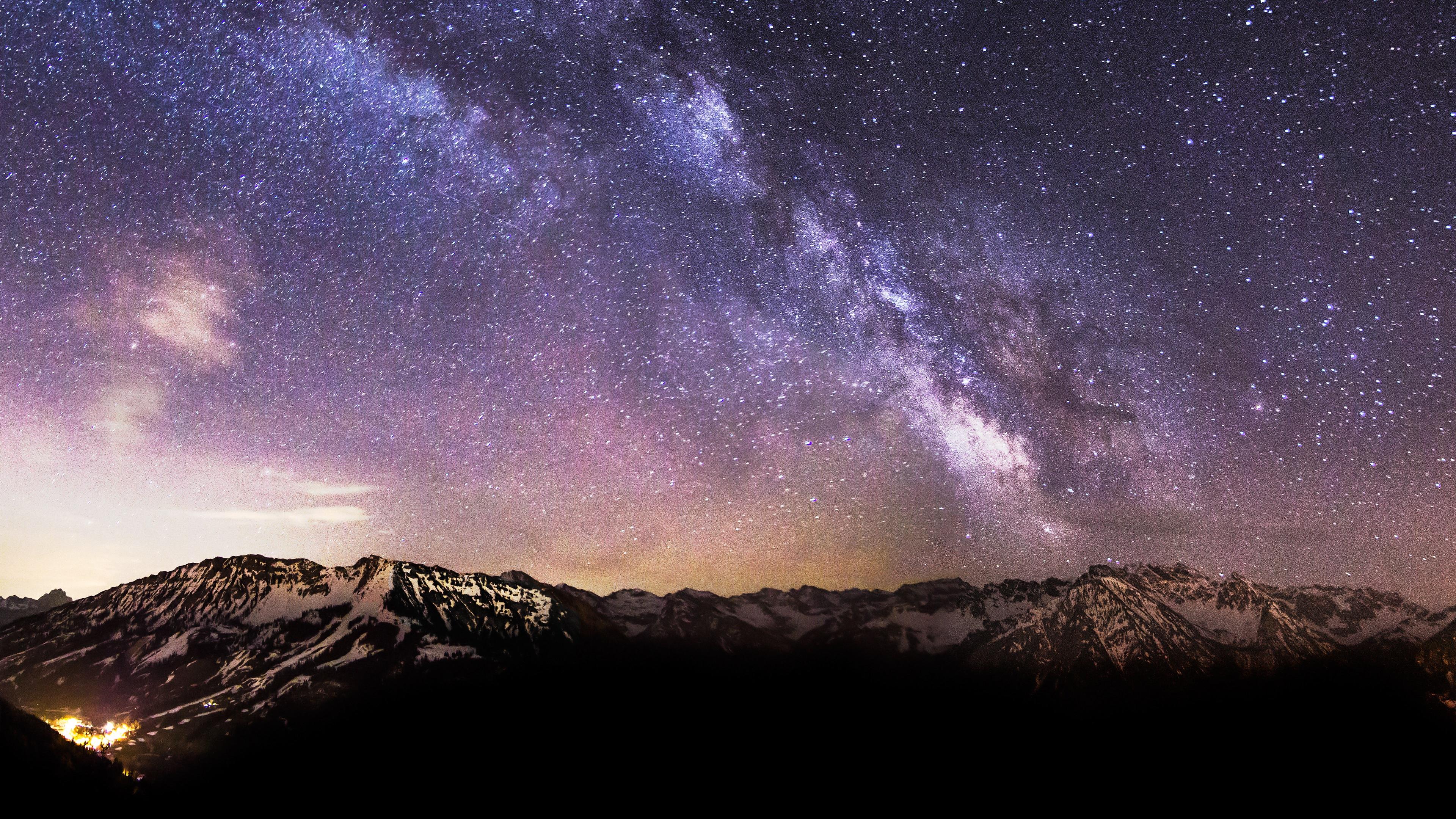 Milky Way Stars Snow Mountains 4K Ultra HD Desktop Wallpaper 3840x2160