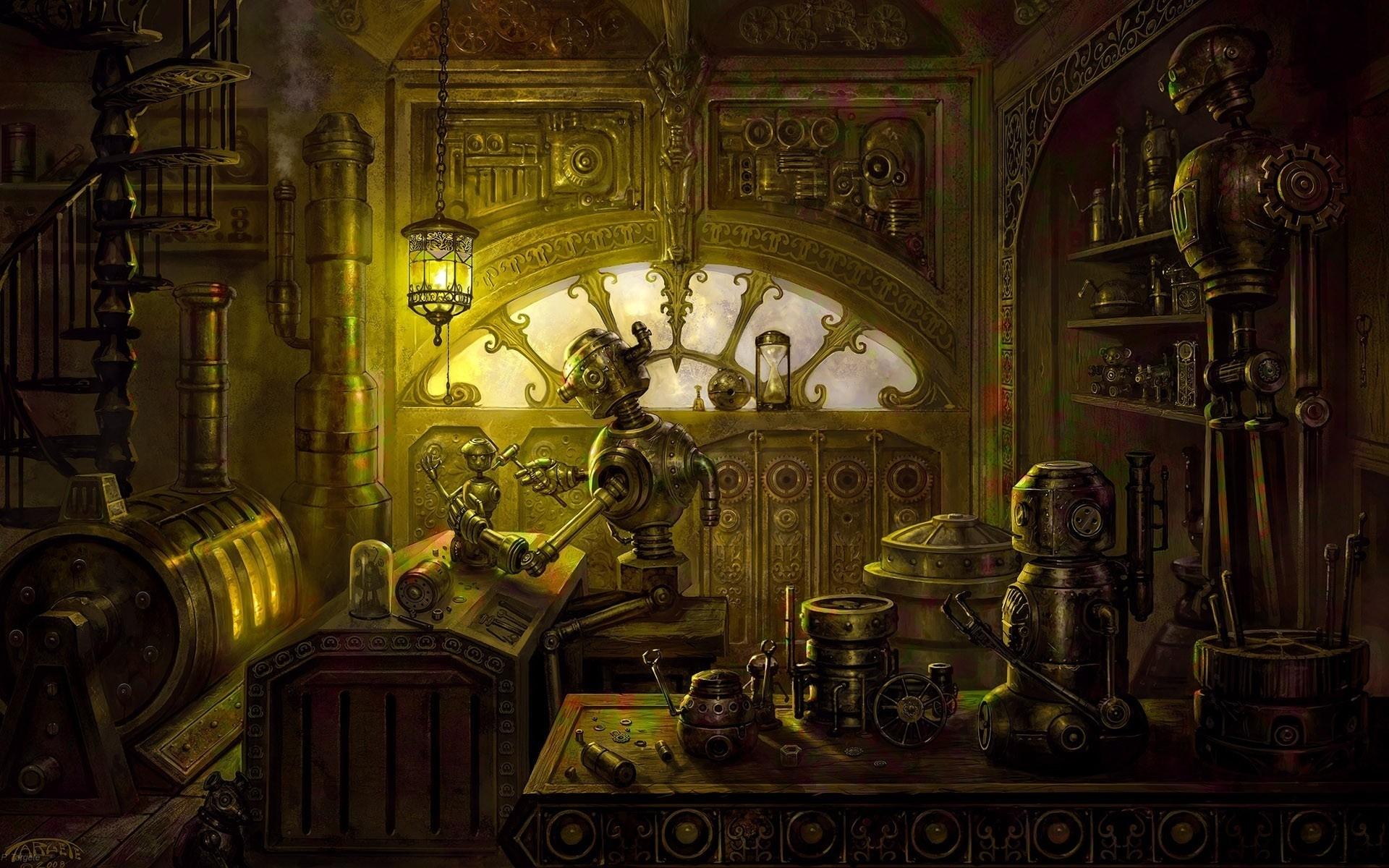 Steampunk mechanical room robots wallpaper 1920x1200 62283 1920x1200