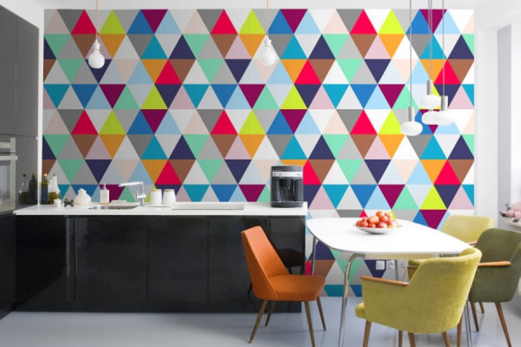 15 Modern Kitchen Designs with Geometric Wallpapers Rilane   We 1025x683