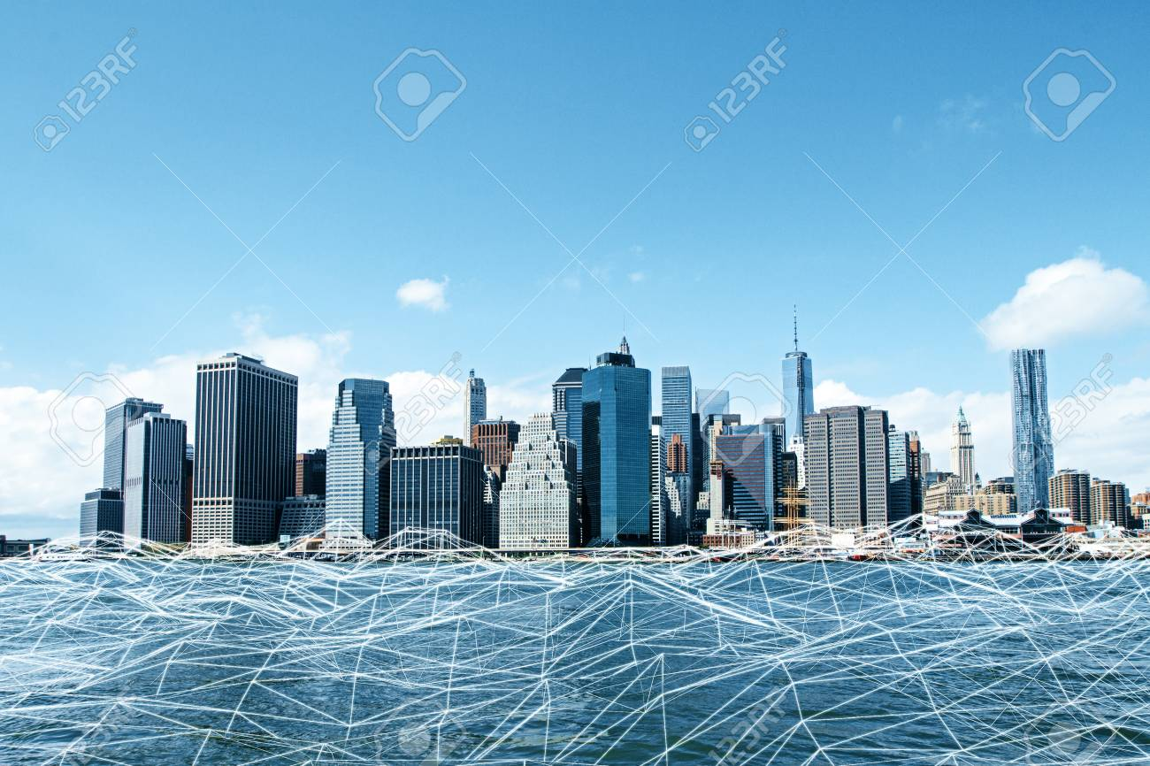Abstract Polygonal Waterfront City Wallpaper Urban Innovation 1300x866