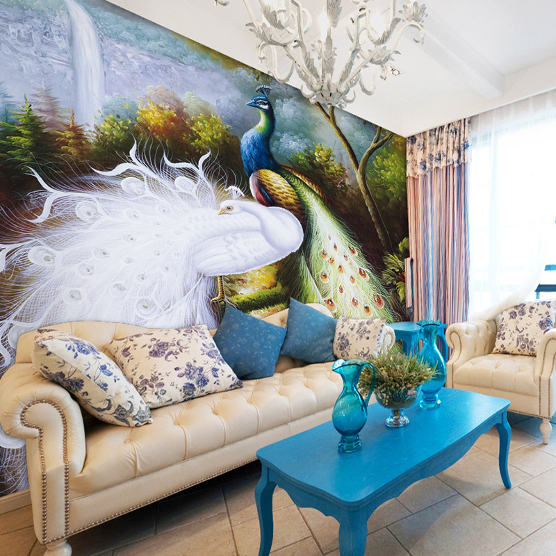 sofa bakground wall mural fashion wallpaper peacock double wallpaper 800x800