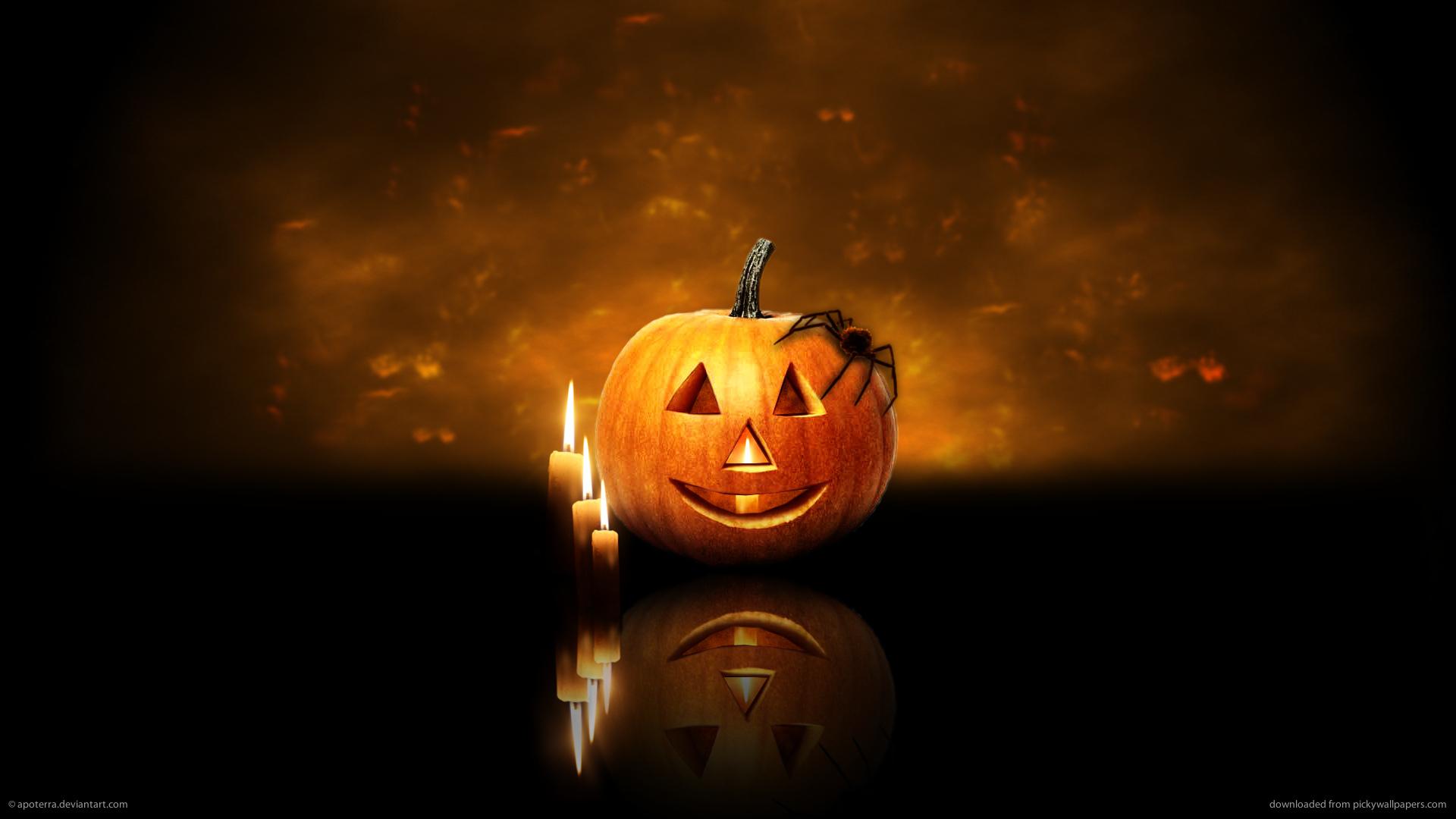 halloween candels pumpkin screensavers holidays wallpaper 1920x1080