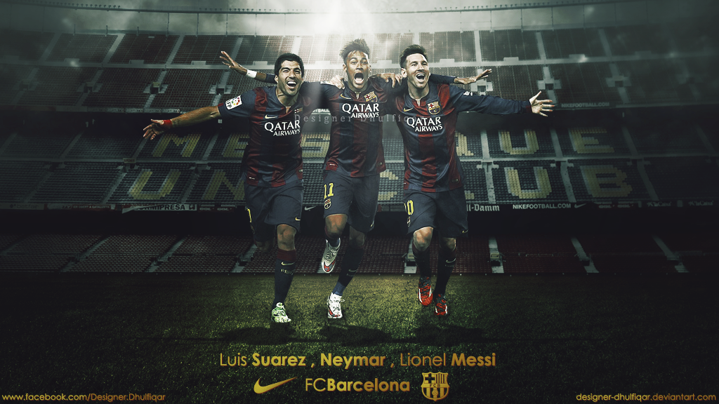 Luis Suarez Neymar Lionel Messi   FC Barcelona by Designer 1024x576