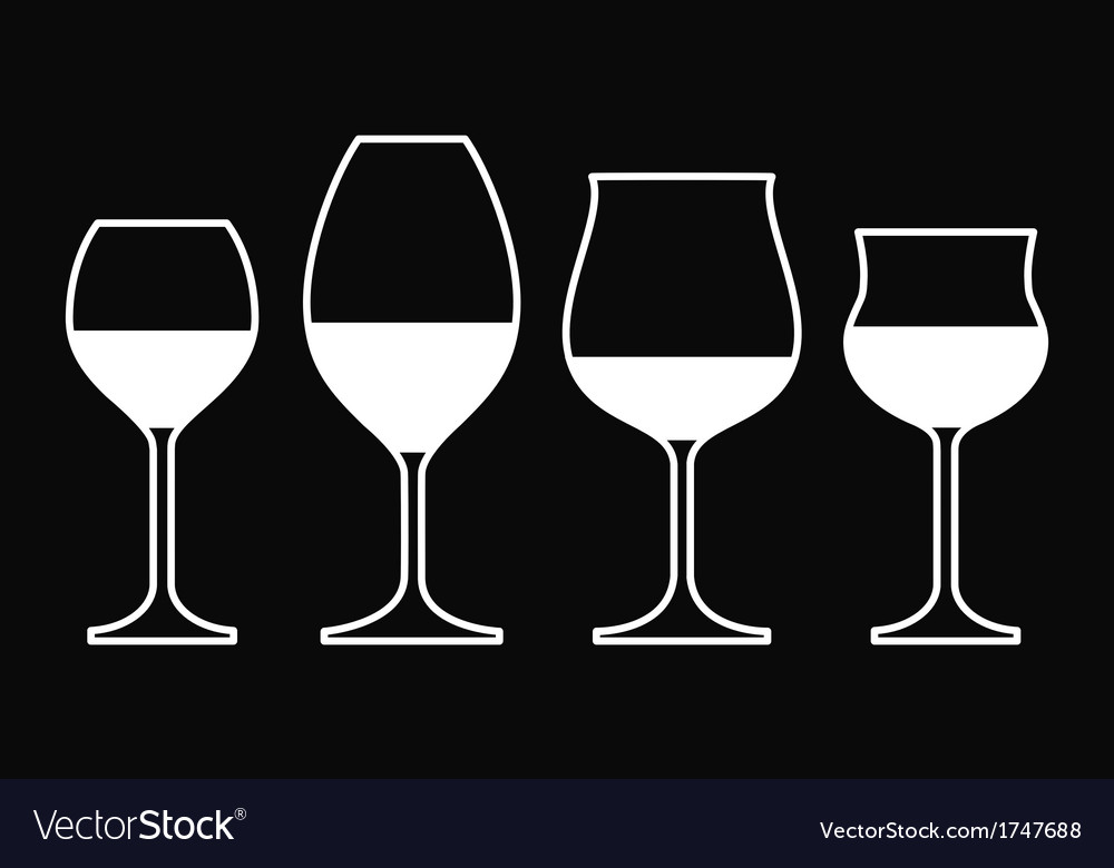 Wine Glasses On a Black Background Royalty Vector Image 1000x780