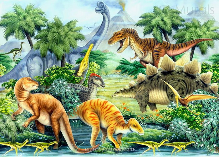 Dinosaur wallpaper for kids room wallpapersafari for Dinosaur mural ideas