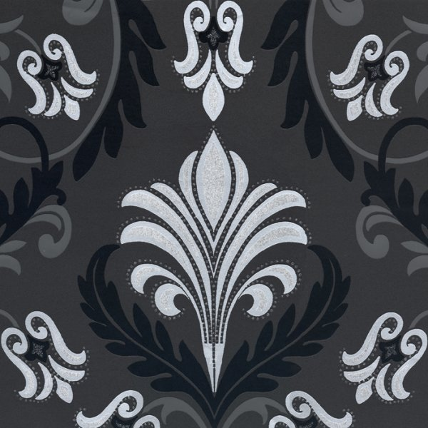 Decor Dolce Diamante Designer Feature Wallpaper Black Silver eBay 600x600