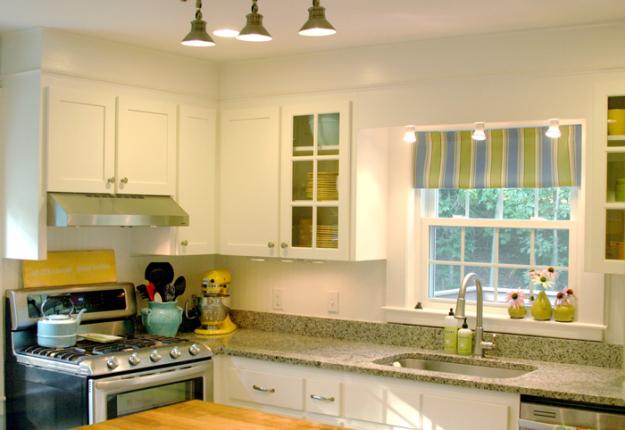 Beadboard Wallpaper on the Kitchen Backsplash 625x430