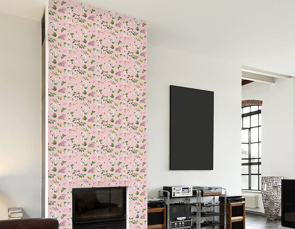 Self Adhesive Pink Floral Pattern Wallpaper Contemporary Wall 940x730