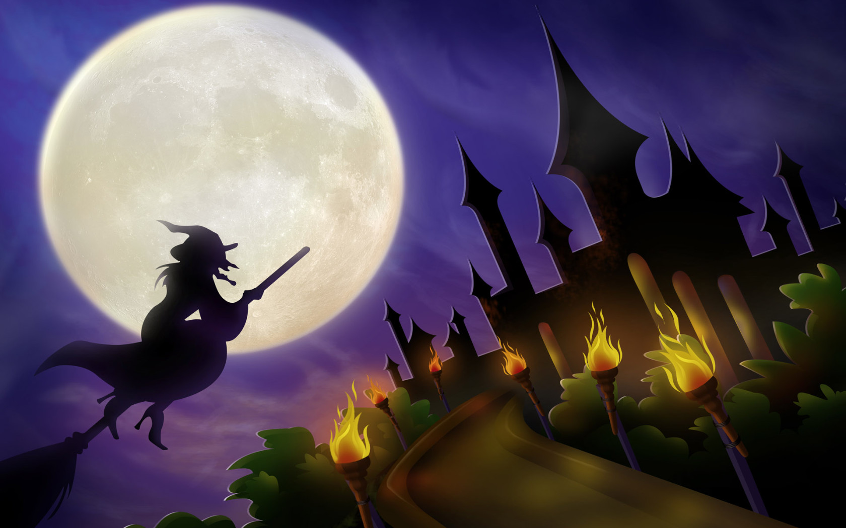 Castle witches Halloween Desktop wallpapers 1680x1050 1680x1050