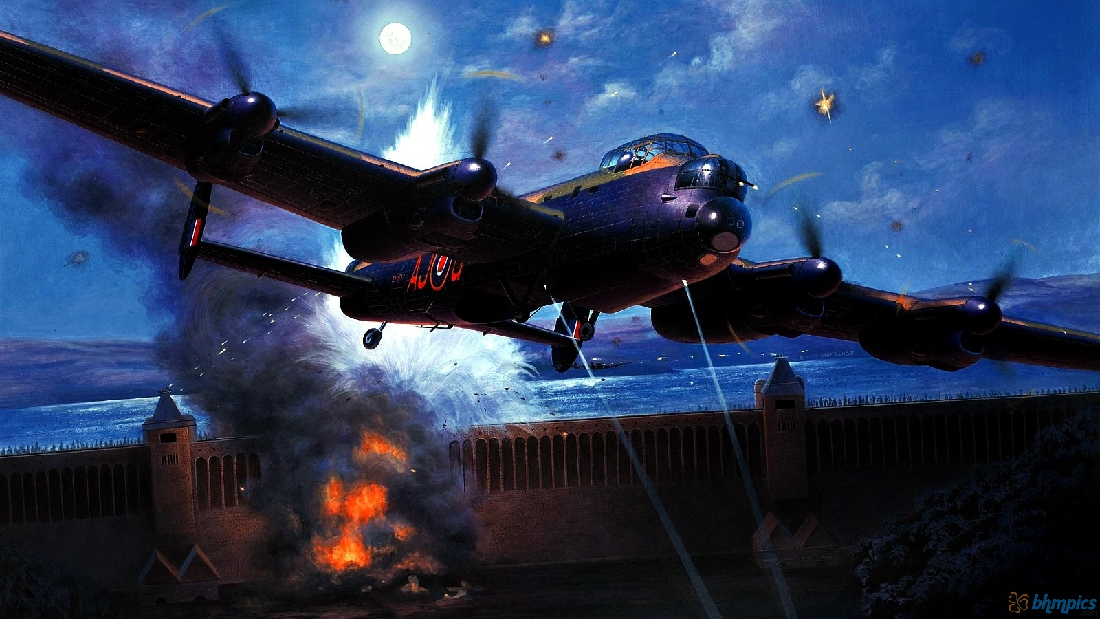 Avro Lancaster   Attack On The Dam 1600x900 6257 HD Wallpaper Res 1600x900