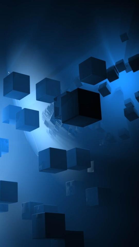 Blue 3D Cubes Wallpaper   iPhone Wallpapers 540x960