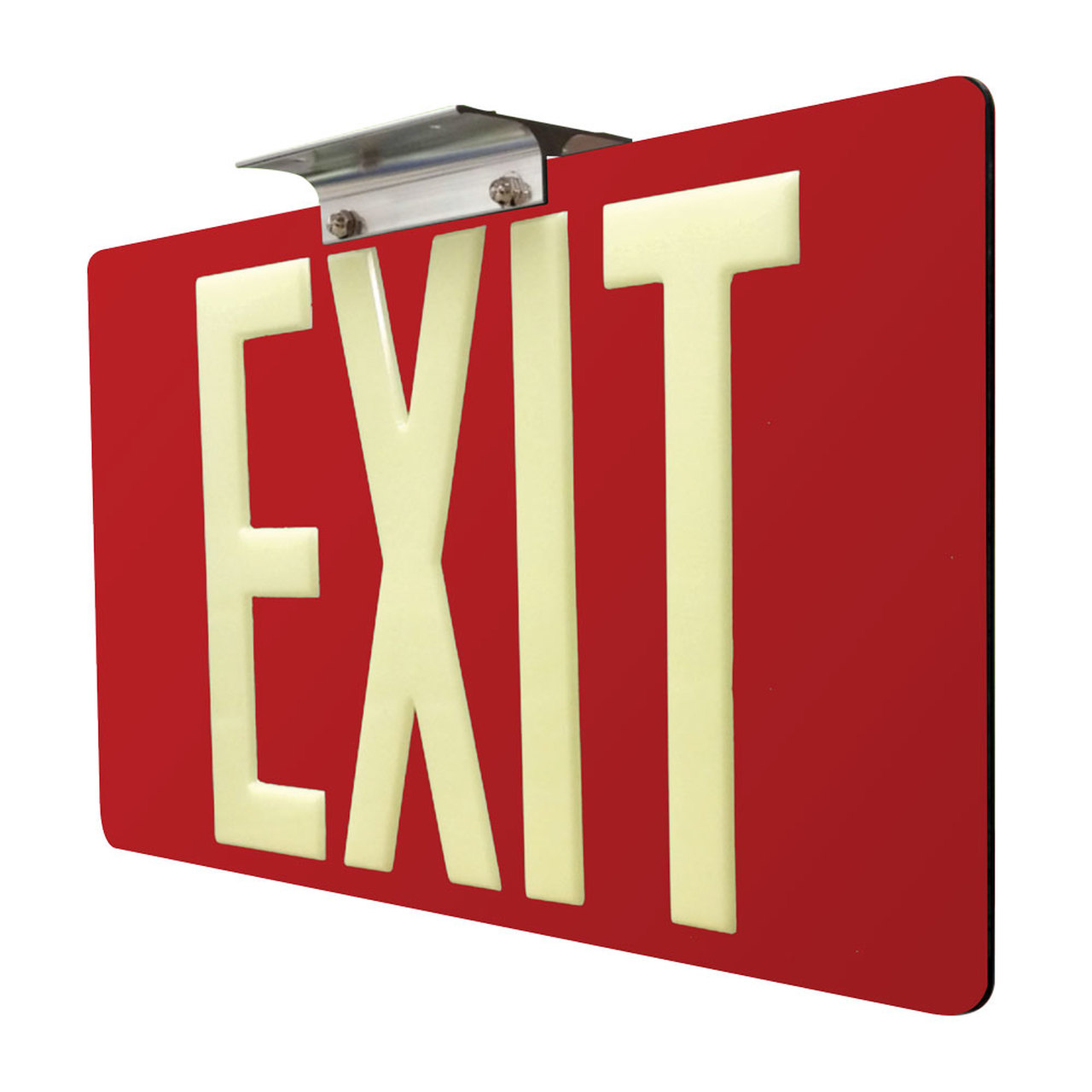 75 Photoluminescent Exit Sign with Red Background 1280x1280
