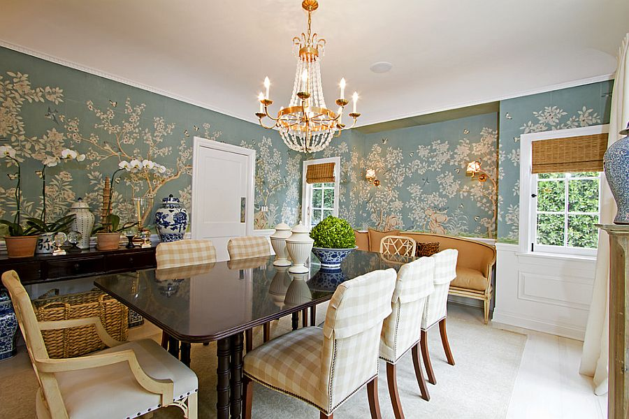 Wallpaper For Dining Room Modern.Free Download 27 Splendid Wallpaper Decorating Ideas For The