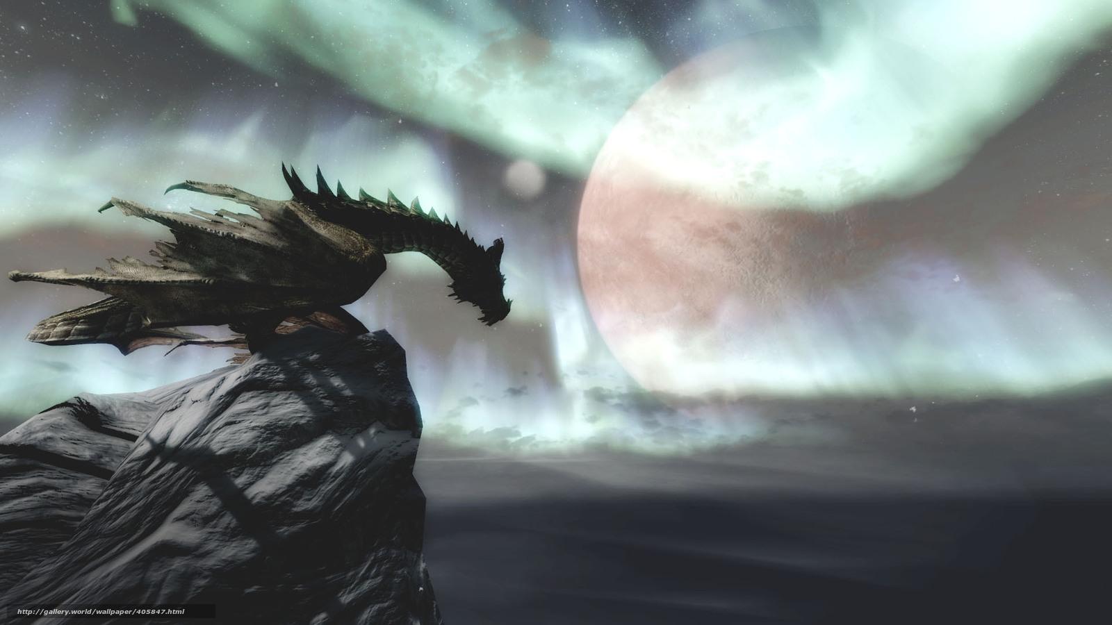 Download wallpaper Skyrim dragon game desktop wallpaper in 1600x900
