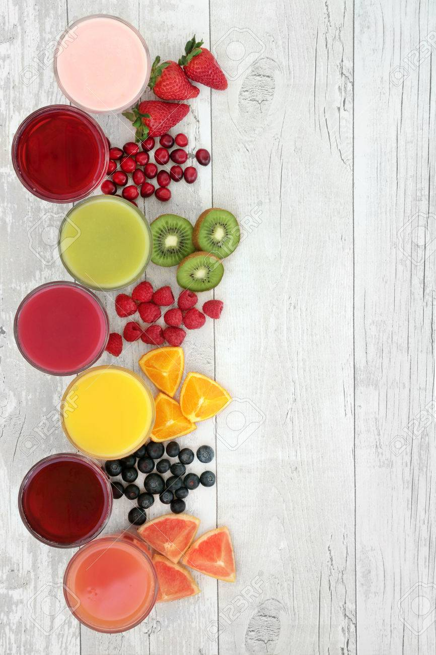Healthy Fresh Fruit And Juice Smoothie Drinks Over Distressed 866x1300