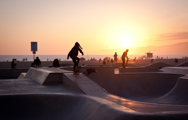 Wallpaper summer california sunset usa los angeles skater 1332x850