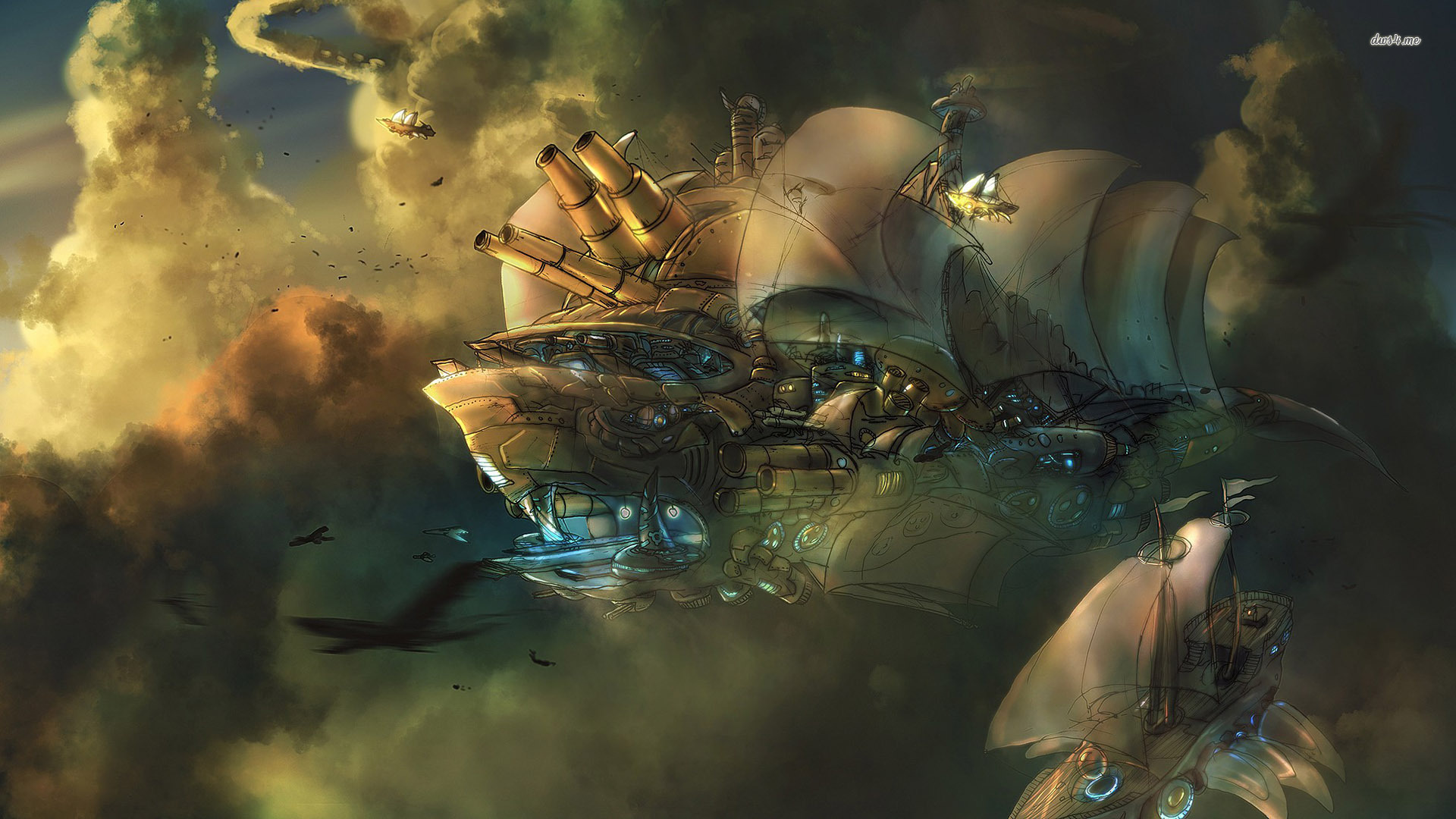 Flying steampunk battleship wallpapers and images   wallpapers 1920x1080