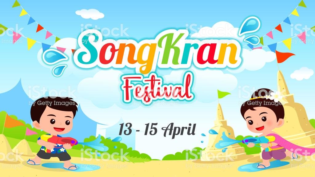 Songkran Festival Background Vector Illustration Thailand Holiday 1024x576
