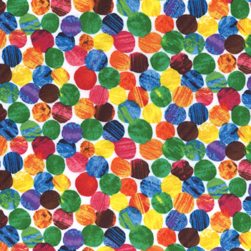 Andover  The Very Hungry Caterpillar Rainbow Polka Dot Flannel 500x500