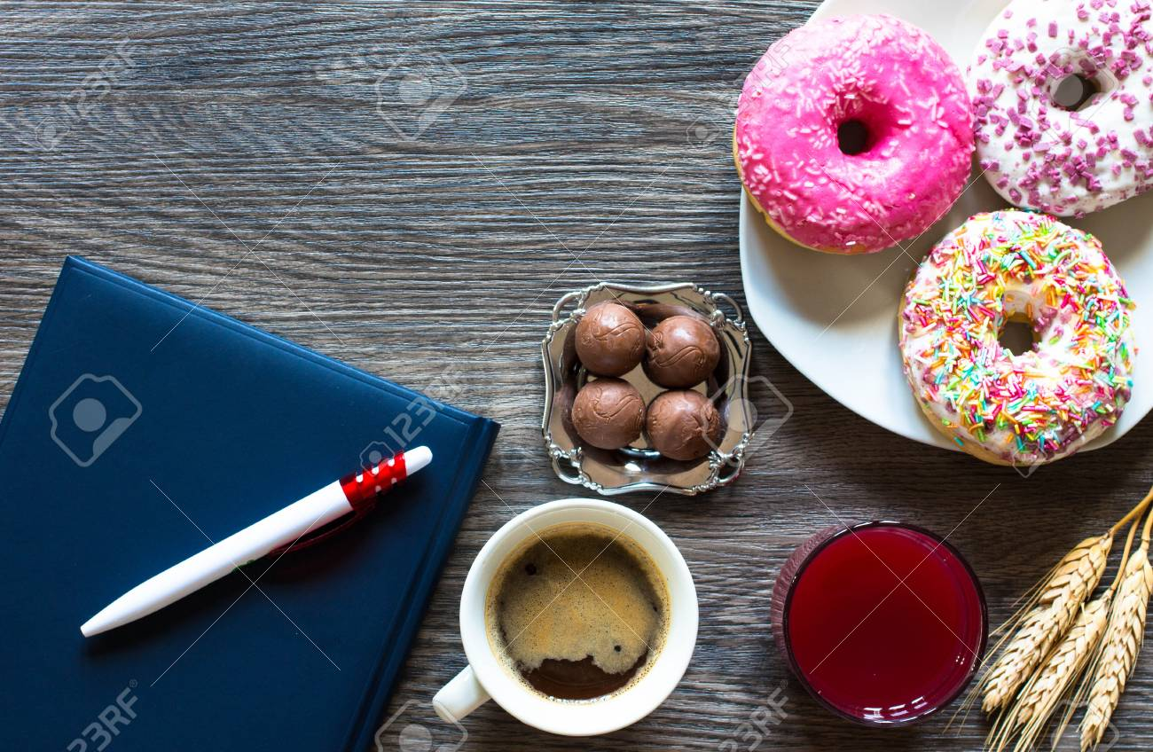 Morning Breakfast With Colorful Donuts And Expresso Coffee On 1300x848