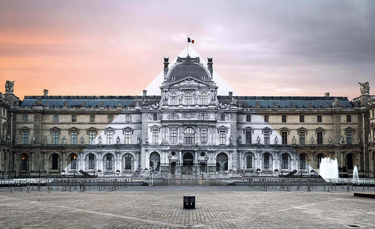 French artist JRs public art installation at Louvre Wallpaper 1540x944